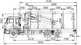 Сортиментовоз КАМАЗ 65115 с гидроманипулятором ОМТЛ-97 (ВЕЛМАШ) за кабиной