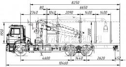 Сортиментовоз КАМАЗ 6520-43 с гидроманипулятором ОМТЛ-97 (ВЕЛМАШ) за кабиной