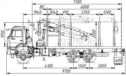 Сортиментовоз КАМАЗ-65111 с гидроманипулятором ОМТЛ-70-02 (ВЕЛМАШ) за кабиной